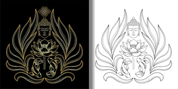 Conjunto de cabeça de buda com nó infinito de estampas de peixes de lótus tatuagem têxtil e estampas de camisetas