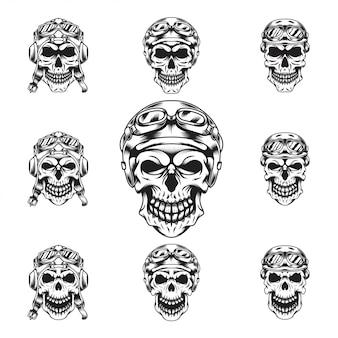 Conjunto de cabeça de cavaleiros do crânio