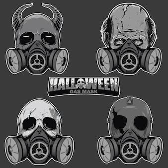 Conjunto de cabeça de caveira com máscara de gás