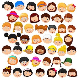 Conjunto de cabeça de crianças dos desenhos animados