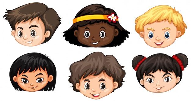 Conjunto de cabeça de crianças multiculturais