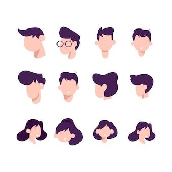 Conjunto de cabeça de ilustração
