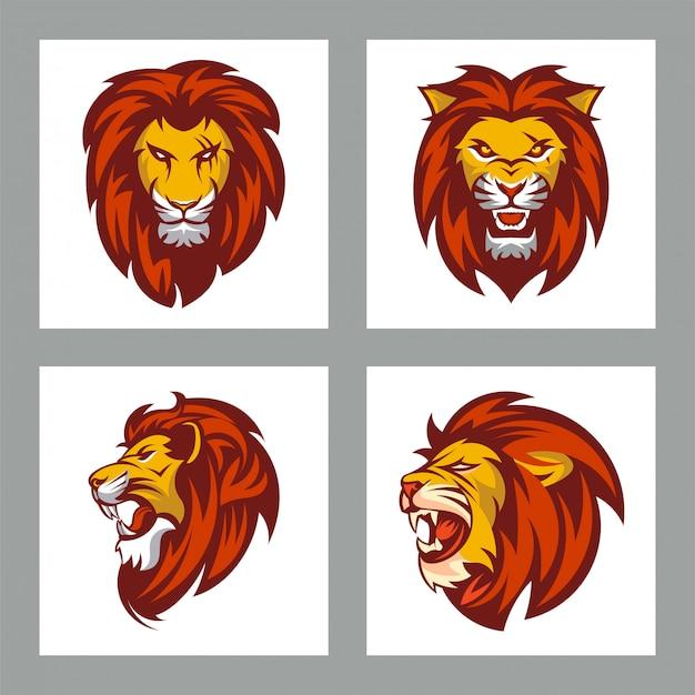 Conjunto de cabeça de leões para mascote ou logotipo