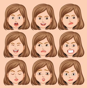 Conjunto de cabeça de menina com expressão facial diferente