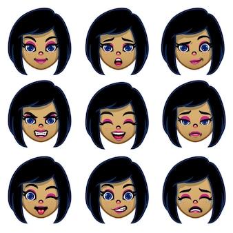 Conjunto de cabeça de menina de desenho animado com várias expressões faciais