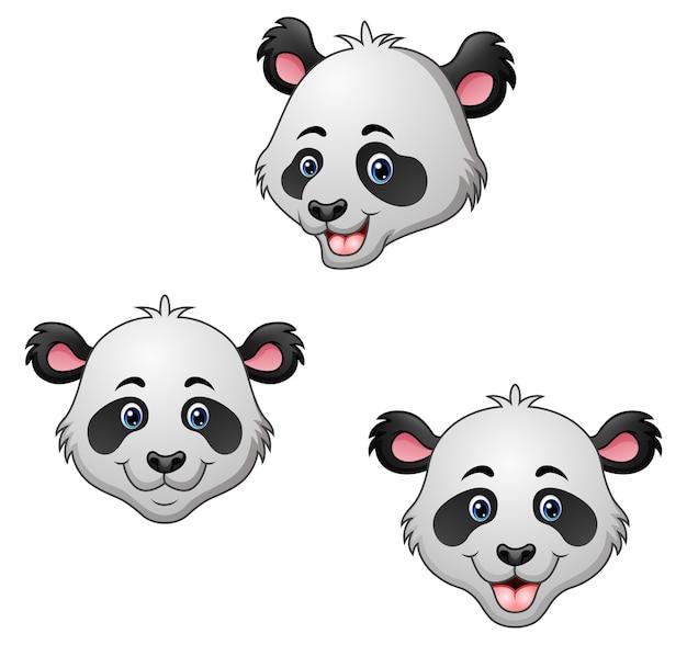 Conjunto de cabeça de panda dos desenhos animados
