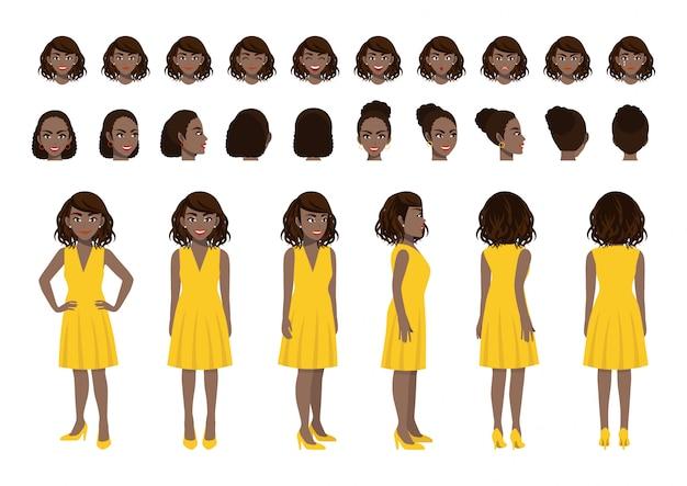 Conjunto de cabeça de personagem de desenho animado de mulher de negócios americano africano e animação
