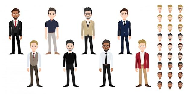 Conjunto de cabeça de personagem de desenho animado do empresário. homem de negócios bonito no estilo de escritório plana