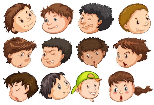 Conjunto de cabeça de pessoas com expressão