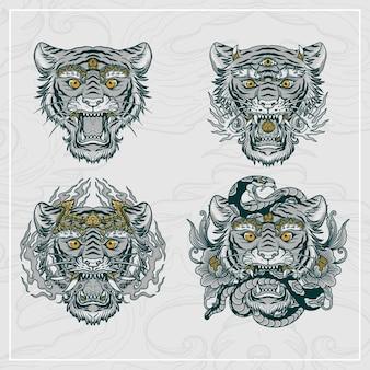 Conjunto de cabeça de tigre balinês