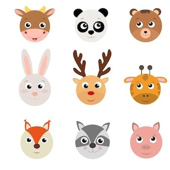 Conjunto de cabeça plana de animais fofos