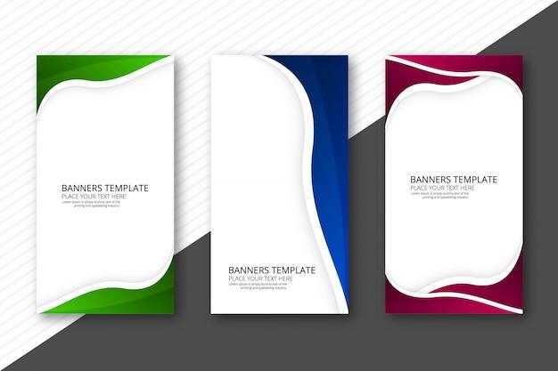 Conjunto de cabeçalho abstrato três onda colorida web banners