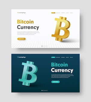 Conjunto de cabeçalho de site verde escuro e branco com um ícone de moeda-bitcoin 3d dourado e azul.