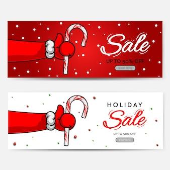 Conjunto de cabeçalhos de fundos de venda de natal para o site ícone do símbolo polegar para cima com a mão do papai noel com ca