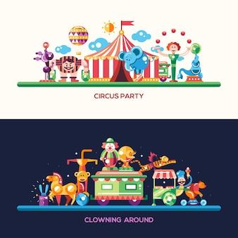 Conjunto de cabeçalhos de site de circo e carnaval de design plano moderno