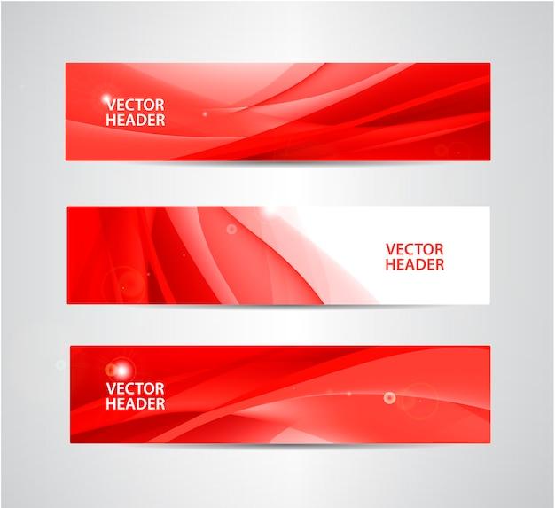 Conjunto de cabeçalhos ondulados de seda abstratos, banners vermelhos.