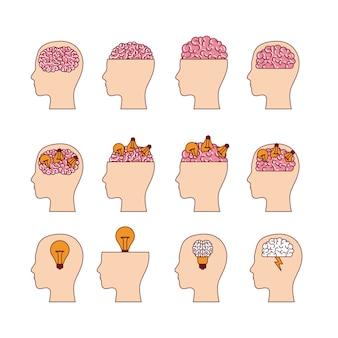 Conjunto de cabeças com cérebros