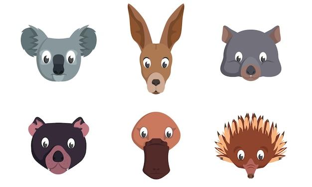 Conjunto de cabeças de animais australianas. desenho animado