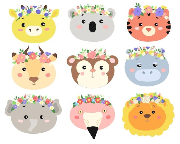 Conjunto de cabeças de animais bonitos com coroas de flores.