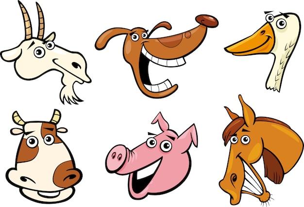 Conjunto de cabeças de animais de fazenda de desenhos animados