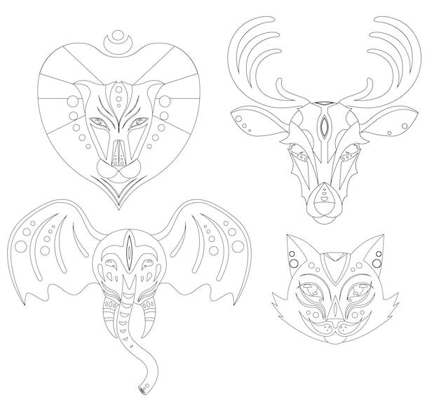Conjunto de cabeças de animais de ilustração linear para logotipo e seu design