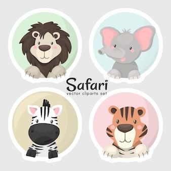 Conjunto de cabeças de animais de safári de bebê fofo, em formato vetorial muito fácil de editar, objetos individuais