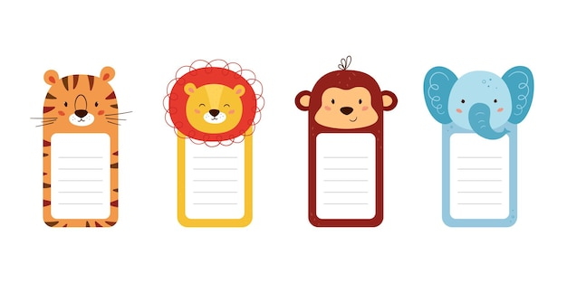 Conjunto de cabeças de animais decoradas de papel de nota. modelos de folha de animais fofos para diário, calendário, memorando. caixa com espaço para texto. ilustrações vetoriais isoladas em fundo branco