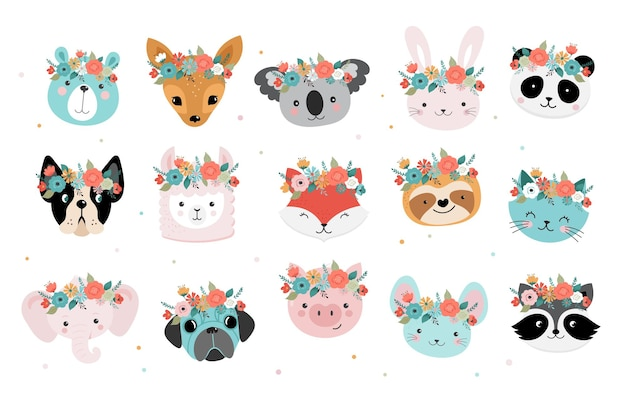 Conjunto de cabeças de animais fofas com coroa de flores