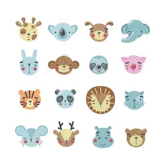 Conjunto de cabeças de animais fofos de desenho animado