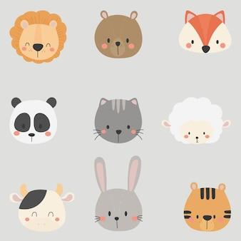 Conjunto de cabeças de animais fofos.