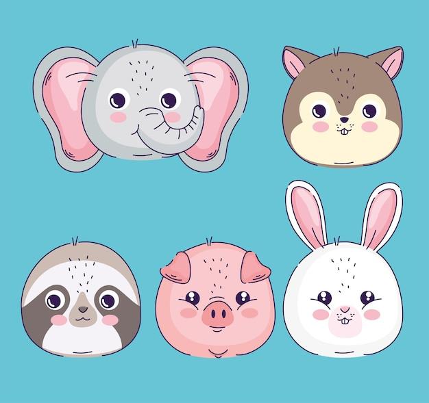 Conjunto de cabeças de animais fofos