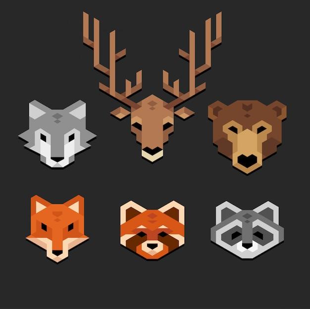Conjunto de cabeças de animais geométricas estilizadas