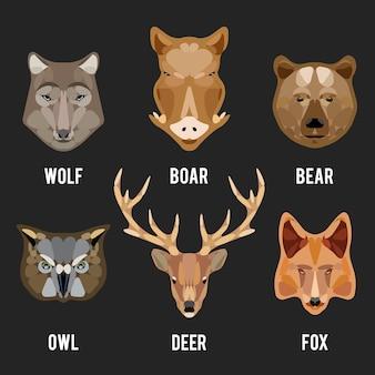 Conjunto de cabeças de animais