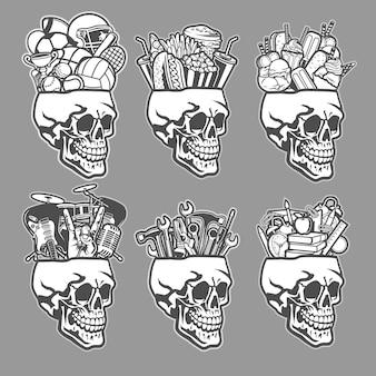 Conjunto de cabeças de caveira