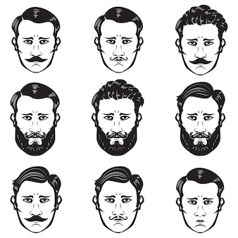 Conjunto de cabeças de homem com penteado diferente. barbearia. elementos para emblema, sinal, crachá. ilustração