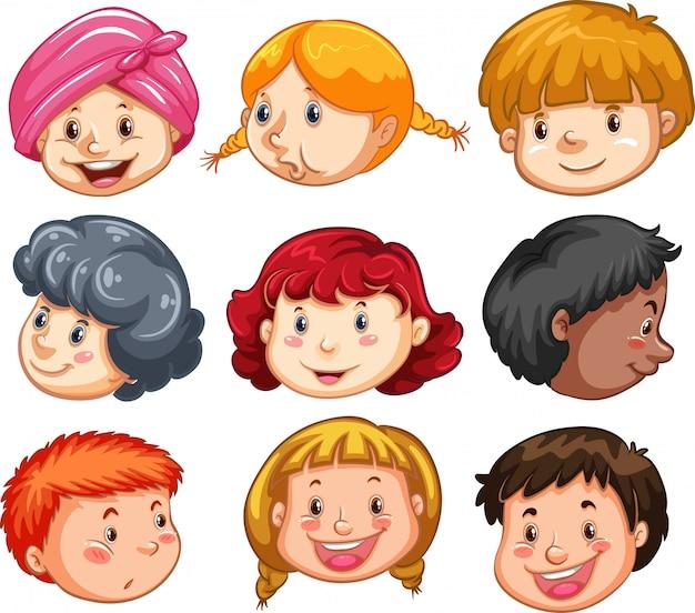 Conjunto de cabeças de povos