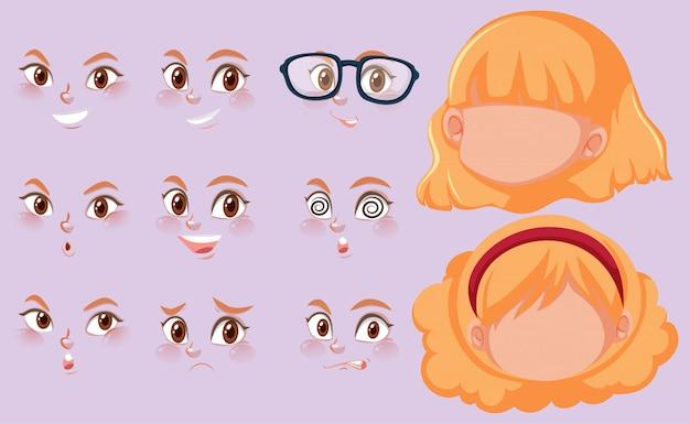 Conjunto de cabeças humanas e expressões diferentes no rosto