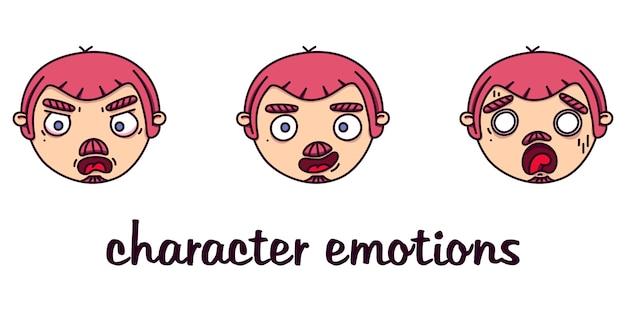 Conjunto de cabeças masculinas com emoções diferentes