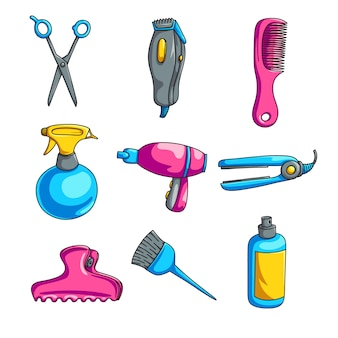 Conjunto de cabeleireiro colorido dos desenhos animados, isolado no fundo branco