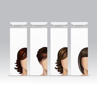 Conjunto de cabelo cor tintura shampoo bálsamo bálsamo máscara embalagem embalagem caixa no fundo