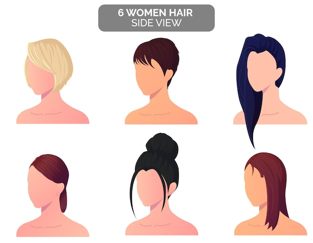 Conjunto de cabelo feminino vista lateral, coque, cabelo loiro, reto e curto