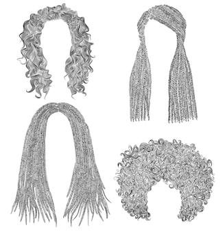 Conjunto de cabelos africanos. desenho de lápis preto sketch .dreadlocks trancinhas