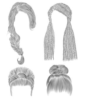 Conjunto de cabelos de mulher. esboço de desenho a lápis preto. babette coque com franja hairstyle.women moda beleza estilo. trancinhas africanas.
