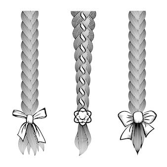 Conjunto de cabelos trançados com laço na ponta. corte de cabelo e estilo