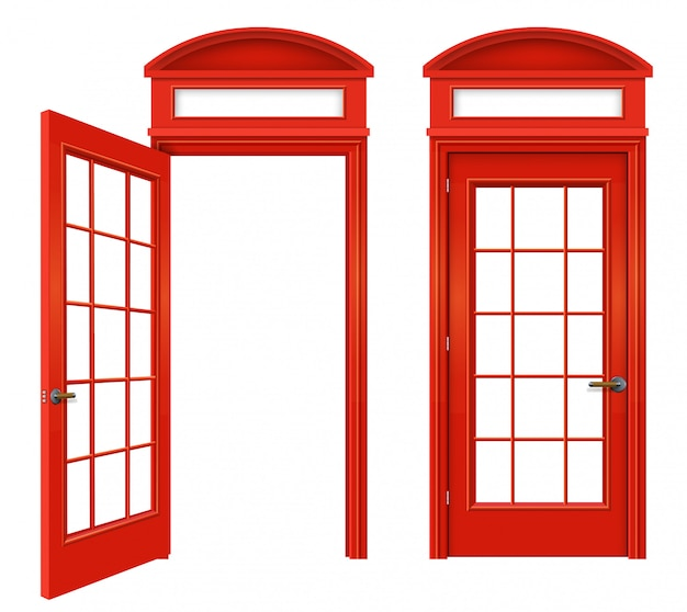 Conjunto de cabine de telefone vermelho inglês