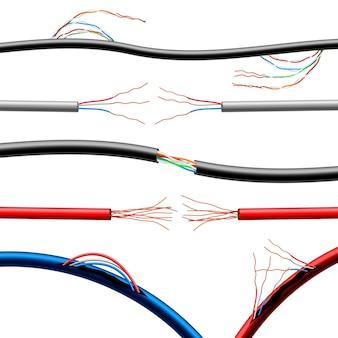 Conjunto de cabos elétricos danificados realistas
