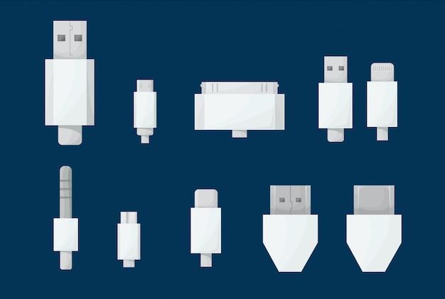 Conjunto de cabos usb.