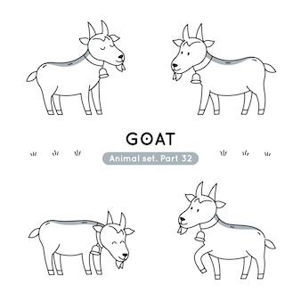Conjunto de cabras de doodle em várias poses isoladas