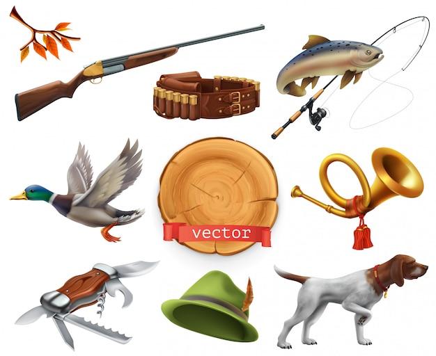 Conjunto de caça. espingarda, cachorro, pato, pesca, chifre, chapéu, faca. ícone 3d