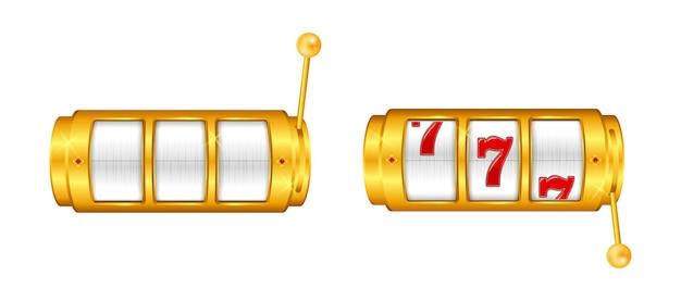 Conjunto de caça-níqueis cassino dourado ou máquina de apostas com jackpot dourado da sorte